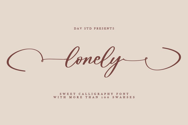 lonely - Sweet Calligraphy Font example image 1