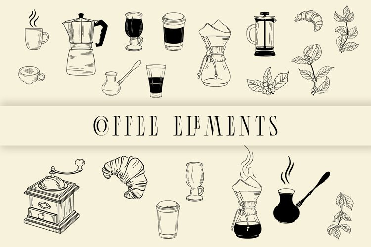 Coffee elements svg example image 1