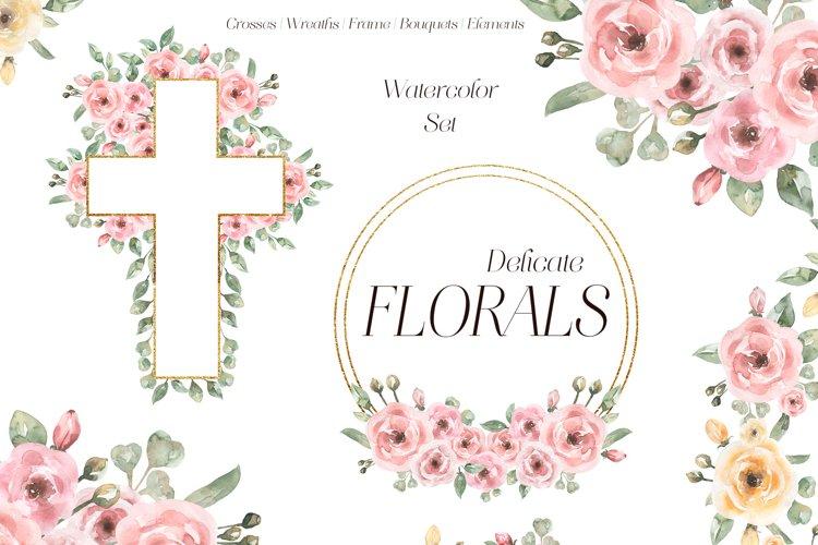 Watercolor delicate floral set
