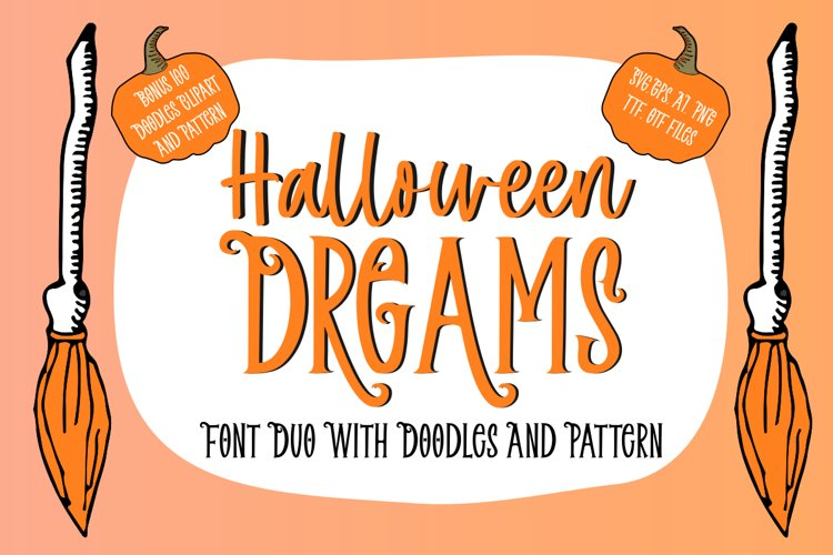 Halloween Dreams   Font Duo With Doodles, Clipart & Pattern example image 1