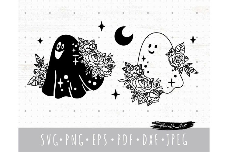 Cute floral Halloween Ghost SVG cricut