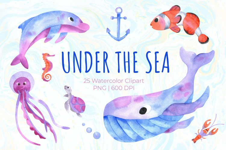 Under the Sea Watercolor Clipart. Ocean animals PNG