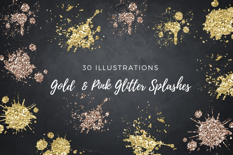 Gold and Pink Glitter Splashes, Real Gold Strokes
