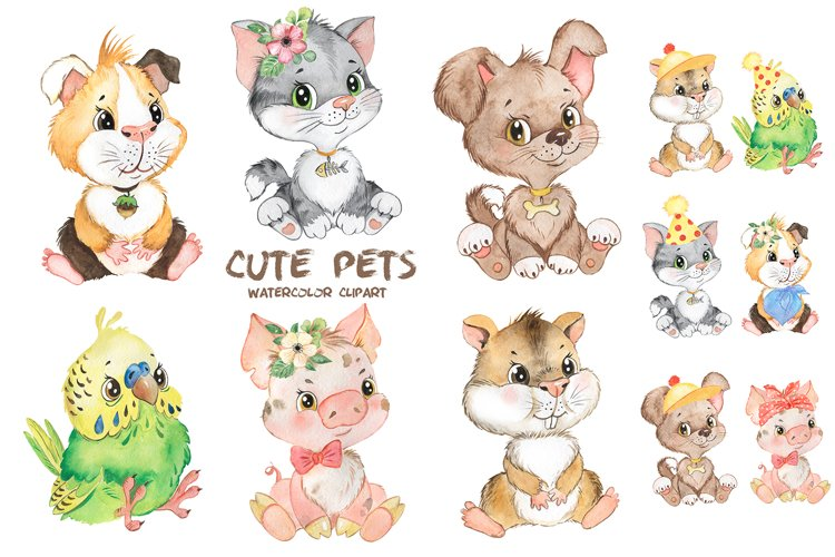 Pets watercolor clipart. Cute baby animals clipart.