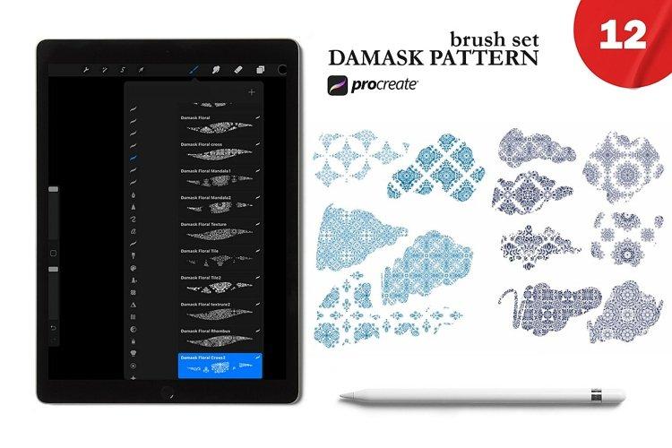 12 Damask Pattern brushes. Mediterranean tiles for Procreate