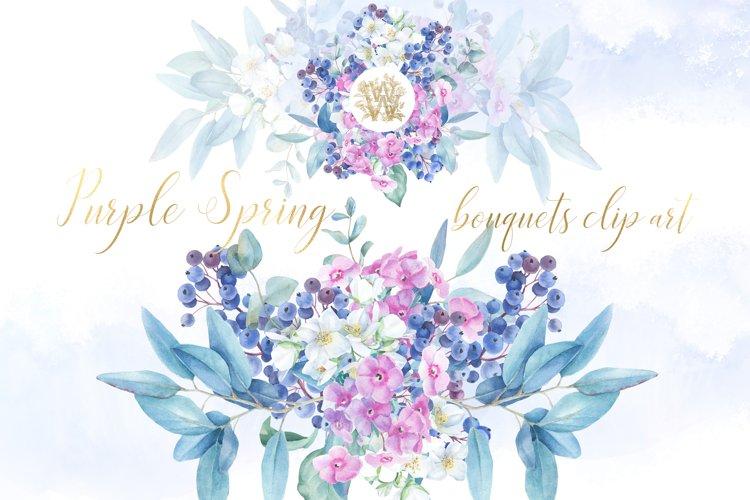Purple floral bouquets clip art, Watercolor wedding