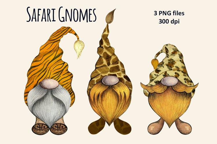 Watercolor Safari Gnomes Clipart set png, animal skin