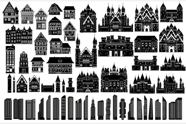 Set of modern skyscrapers, European houses and fortress