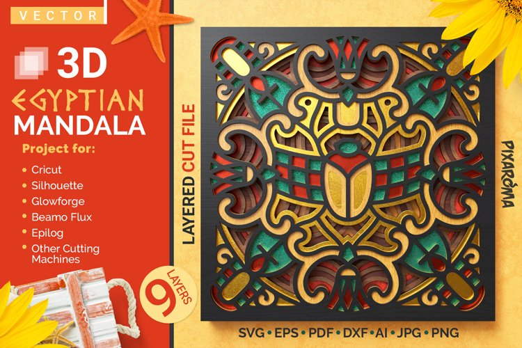 Egyptian Mandala 3D Layered SVG Cut File example image 1
