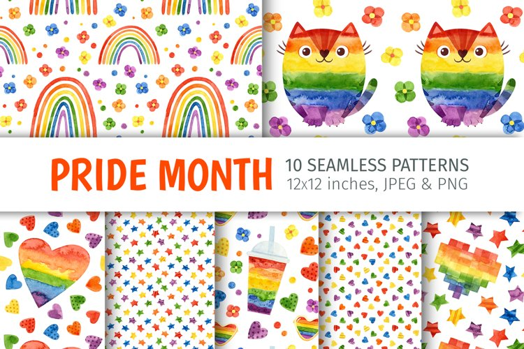 Watercolor pride month, LGBT seamless patterns