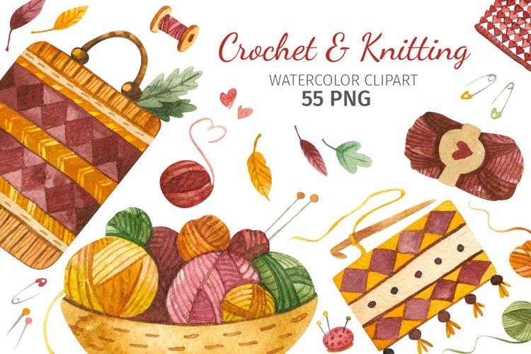 Crochet & knitting, Watercolor needlework clipart