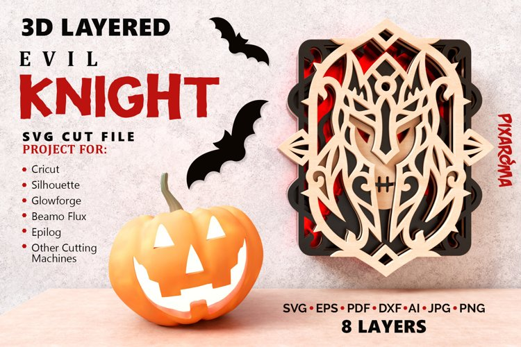 Evil Knight Wall Art 3D Layered SVG Cut File example image 1