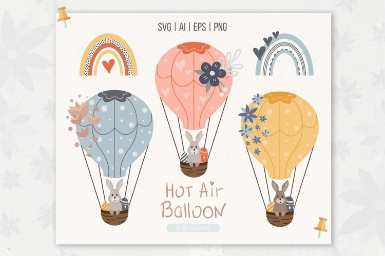 Hot Air Balloon cliparts and digital paper pack   SVG, PNG
