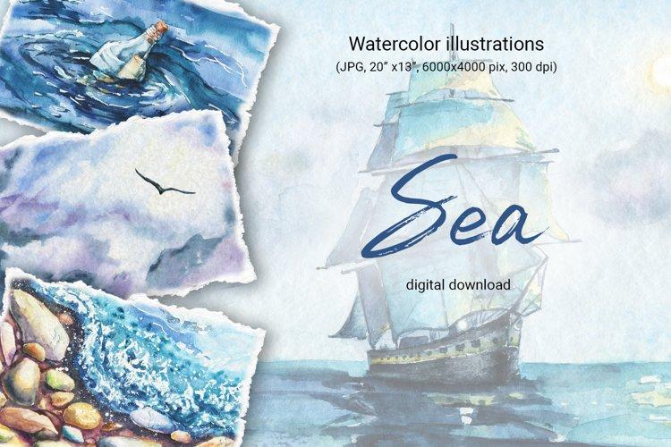 Seascape set of illustrations. Watercolor sea, ship, wave