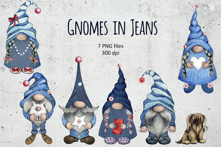 Watercolor Denim Gnomes in Jeans with Pets Clipart set png