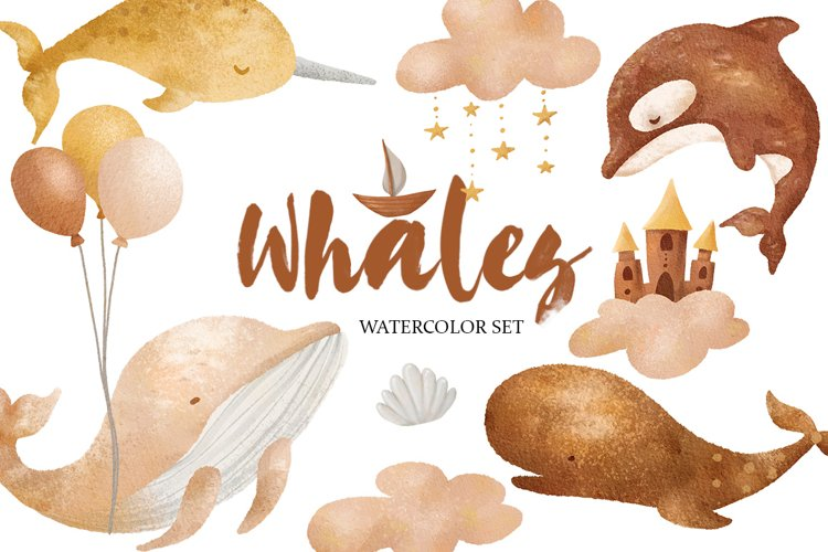 Watercolor Whale Clipart