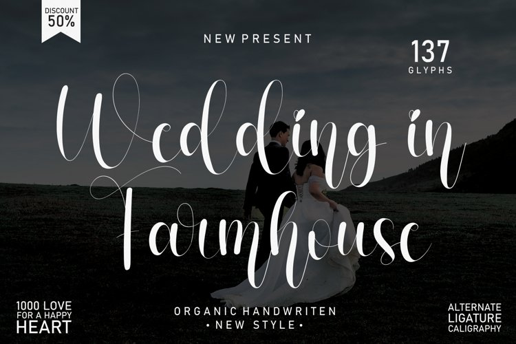 Wedding In Farmhouse   handwritten font example image 1