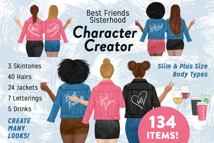 Best Friends Clipart, Character Creator, Plus Size, BFF,