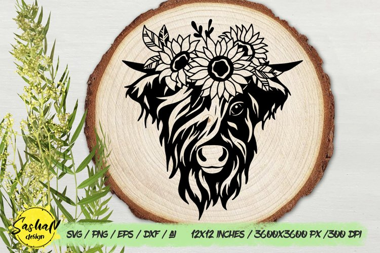 Highland cow svg, Cow with flowers