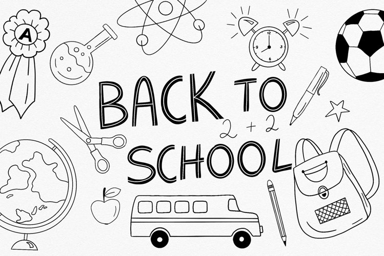 Back to SCHOOL sign and supplies clipart