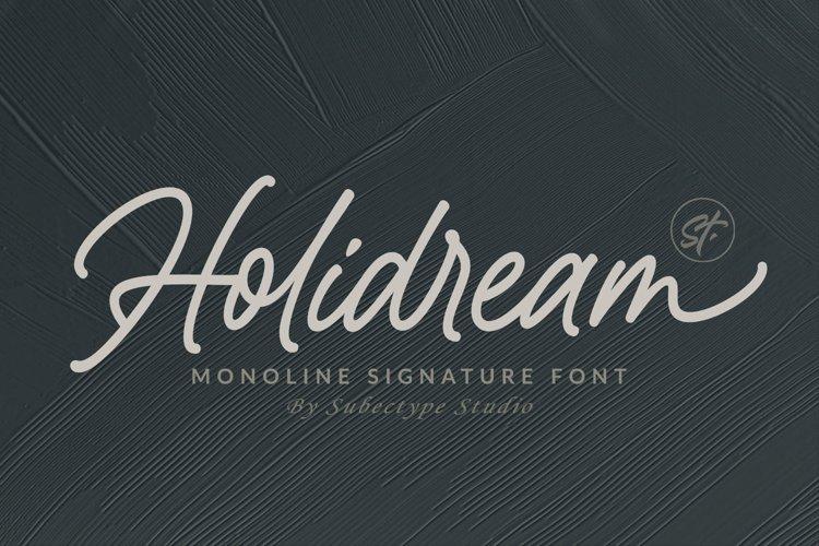 Holidream - Monoline Signature Font example image 1