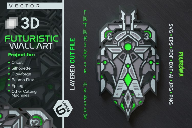 Futuristic Wall Sculpture 3D Layered SVG Cut File example image 1