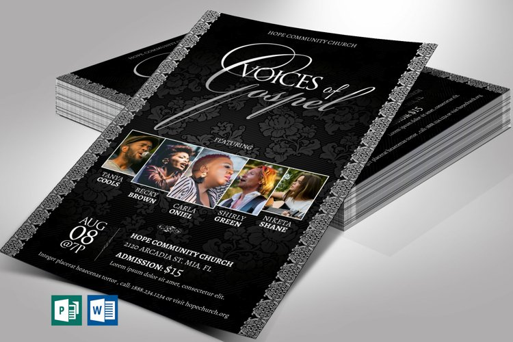 Silver Gospel Concert Flyer Word Publisher Template