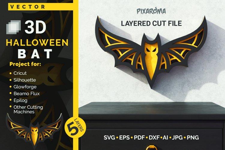 Halloween Bat 3D Layered SVG Cut File example image 1