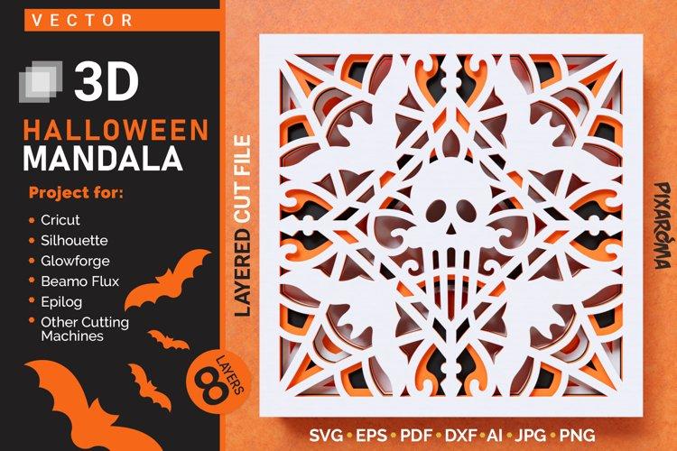Halloween Mandala 3D Layered SVG Cut File example image 1