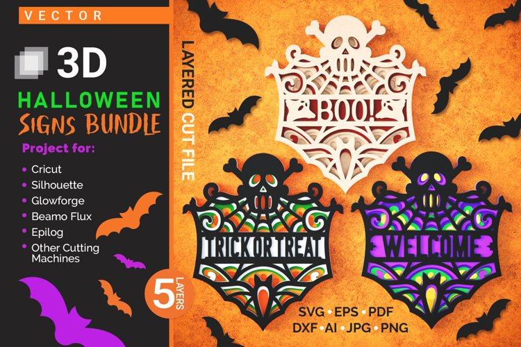 Halloween Signs 3D Layered SVG Cut Files Bundle example image 1
