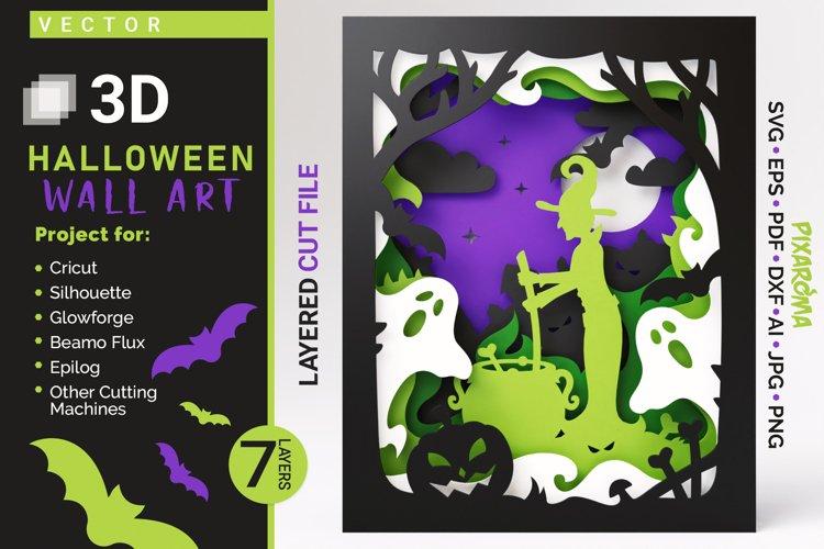 Halloween Wall Art 3D Layered SVG Cut File Shadowbox example image 1