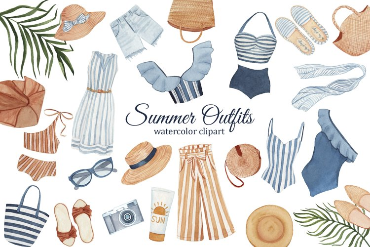 Summer Fashion Watercolor Clipart, Womens clothing