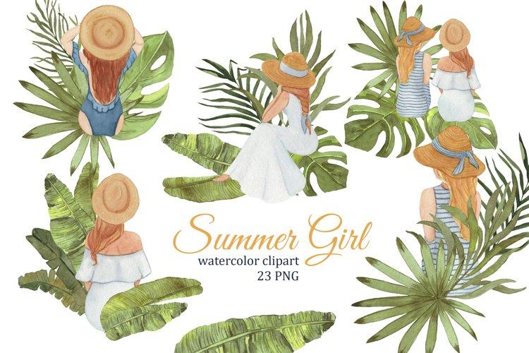 Summer Girls tropical clipart, Fashion illustration
