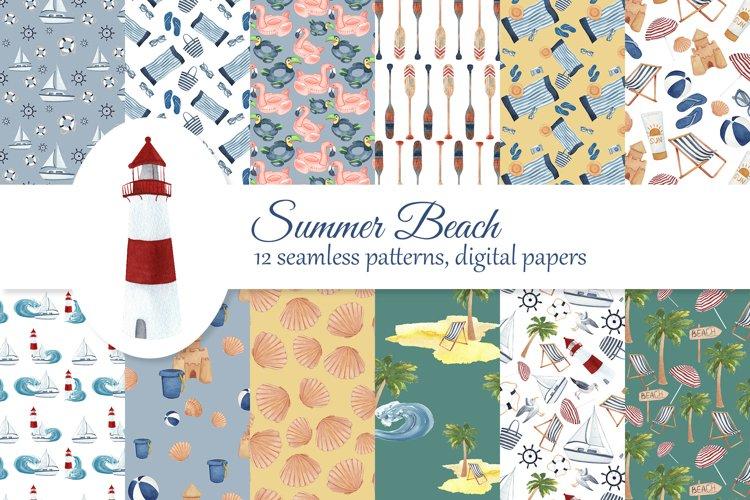 Beach digital paper kit, summer seamless patterns, nautical