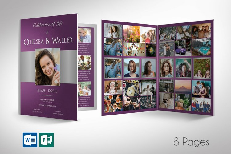 Lavender Regal Tabloid Funeral Program Word Publisher