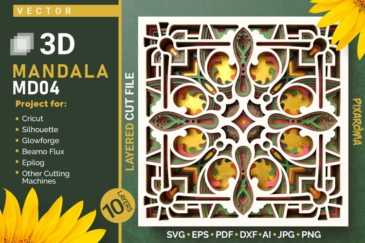 Mandala MD04 3D Layered SVG Cut File example image 1