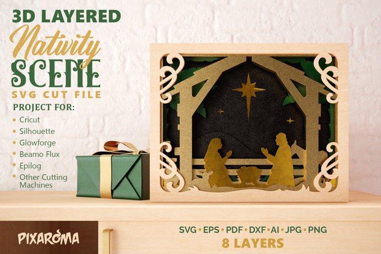 Nativity Scene 3D Layered SVG Cut File example image 1