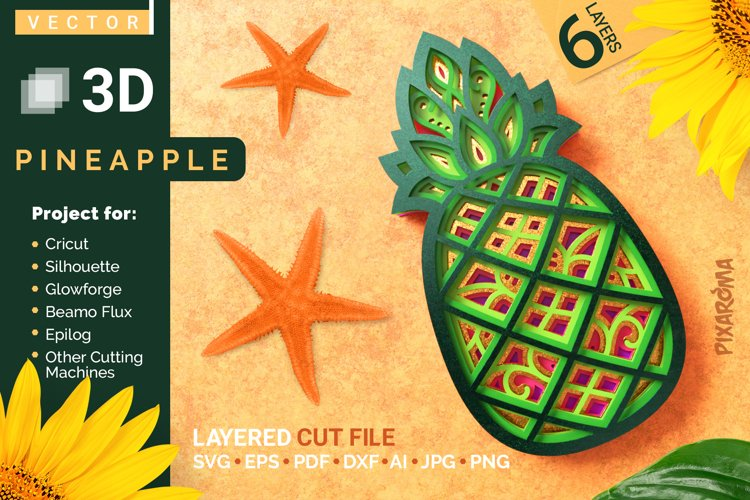 Pineapple 3D Layered SVG Cut File example image 1