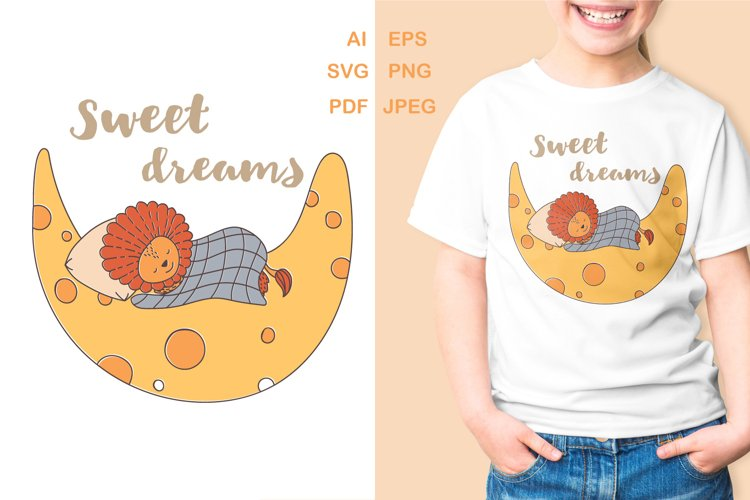 Cute lion baby sleeps on the moon - PNG sublimation