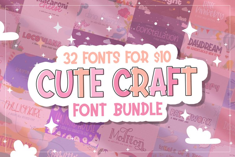 The Cute Craft Font Bundle example image 1