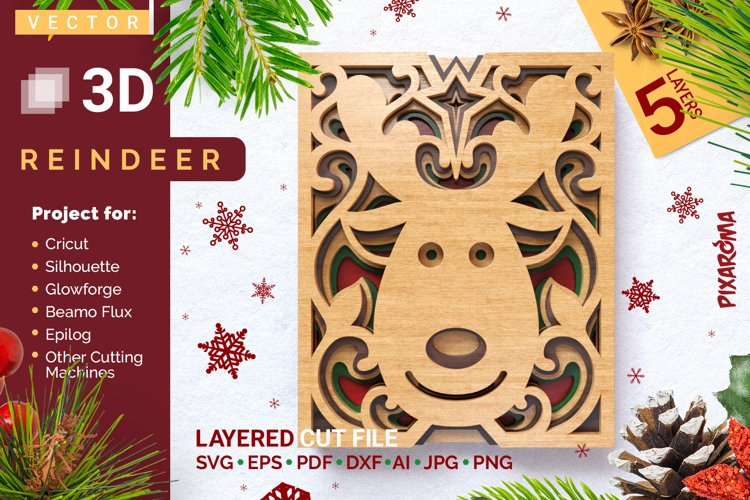 Reindeer 3D Layered SVG Cut File example image 1