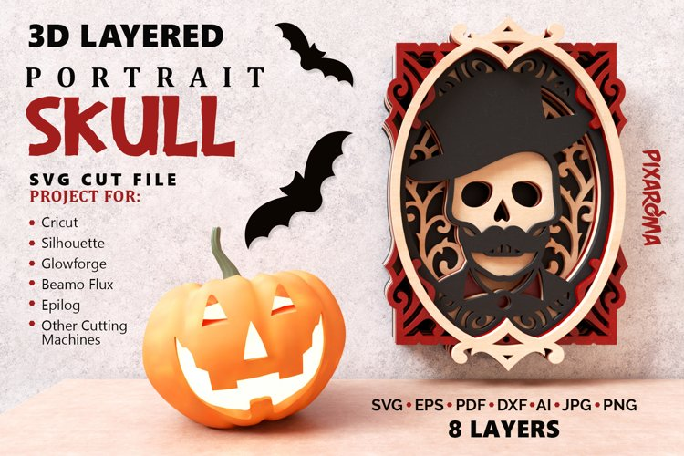 Skull Portrait Wall Art 3D Layered SVG Cut File example image 1