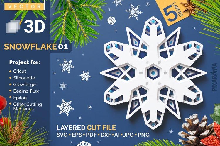 Snowflake 01 3D Layered SVG Cut File