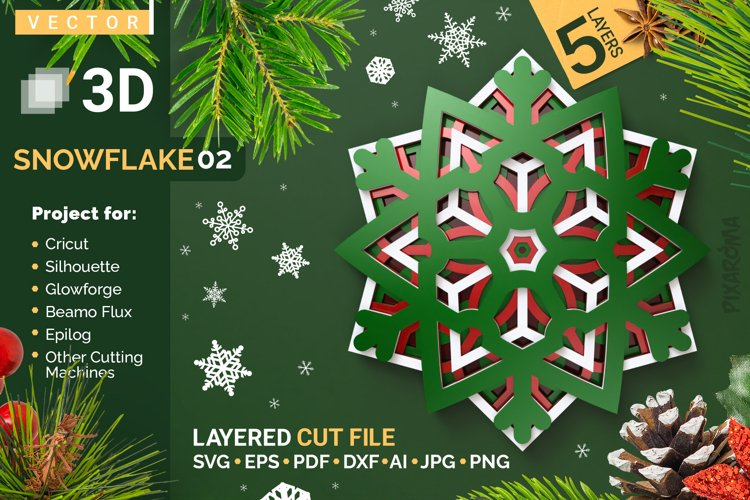 Snowflake 02 3D Layered SVG Cut File example image 1