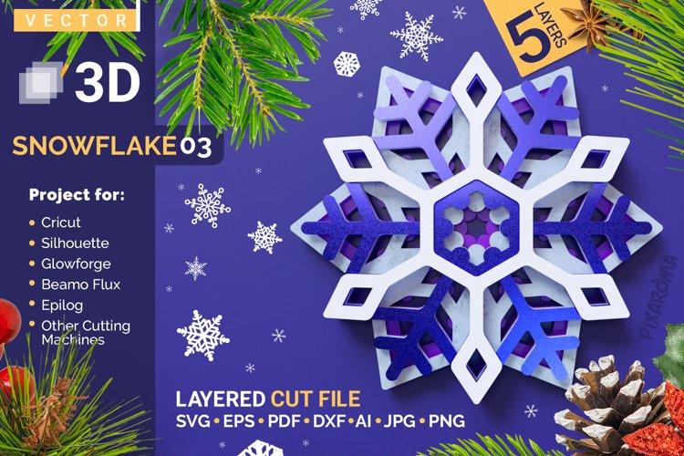 Snowflake 03 3D Layered SVG Cut File