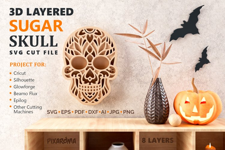 Sugar Skull 3D Layered SVG Cut File example image 1