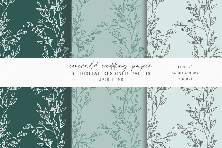 Emerald Wedding Digital Paper