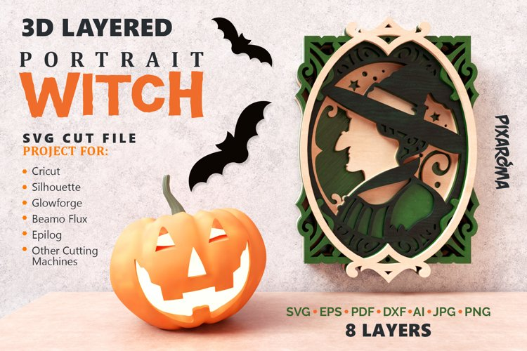Witch Portrait Wall Art 3D Layered SVG Cut File example image 1