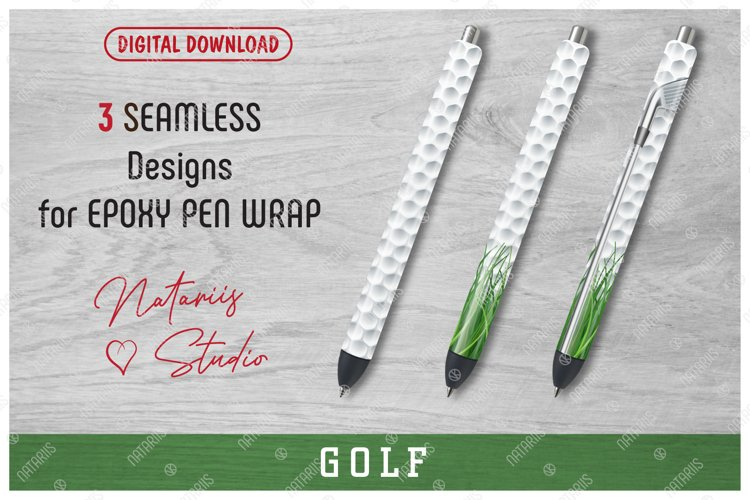 3 Seamless Golf Patterns for Epoxy Pen Wrap