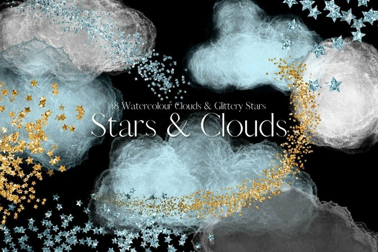 Blue Watercolour Clouds and Glitter Stars Clipart